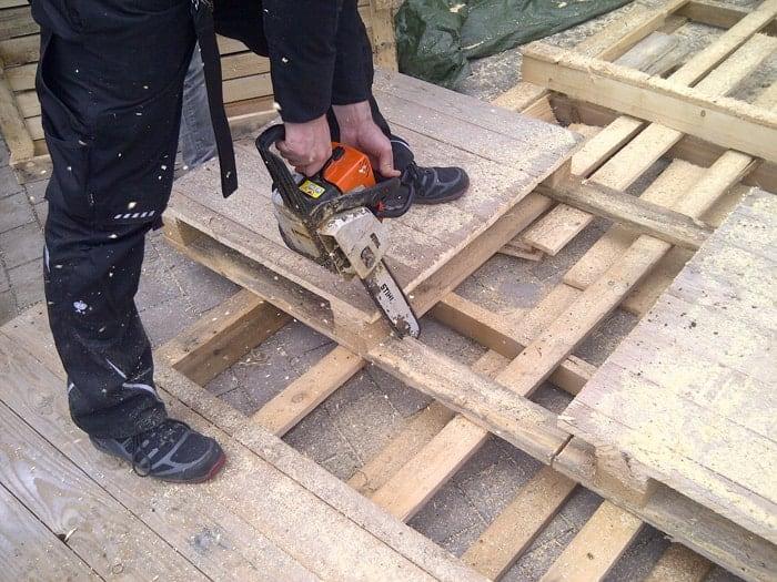 Bauanleitung Paletten-Lounge, Paletten zuschneiden