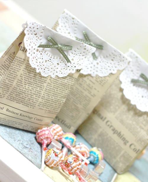 Geschenktüten aus Zeitungspapier