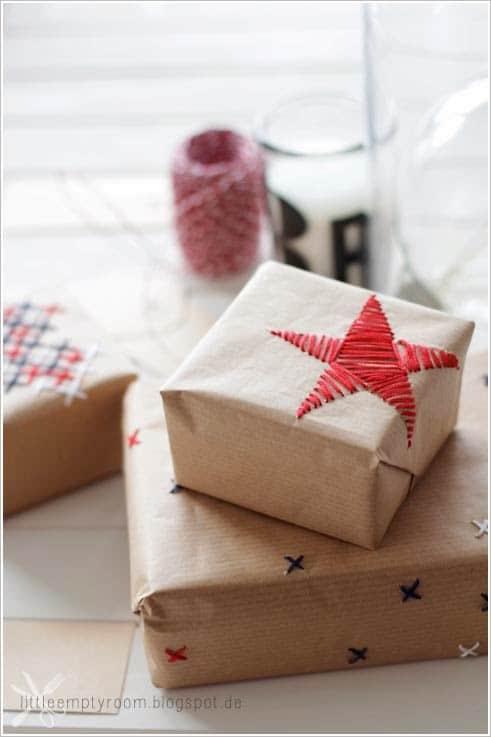Besticktes Geschenkpapier von little empty room