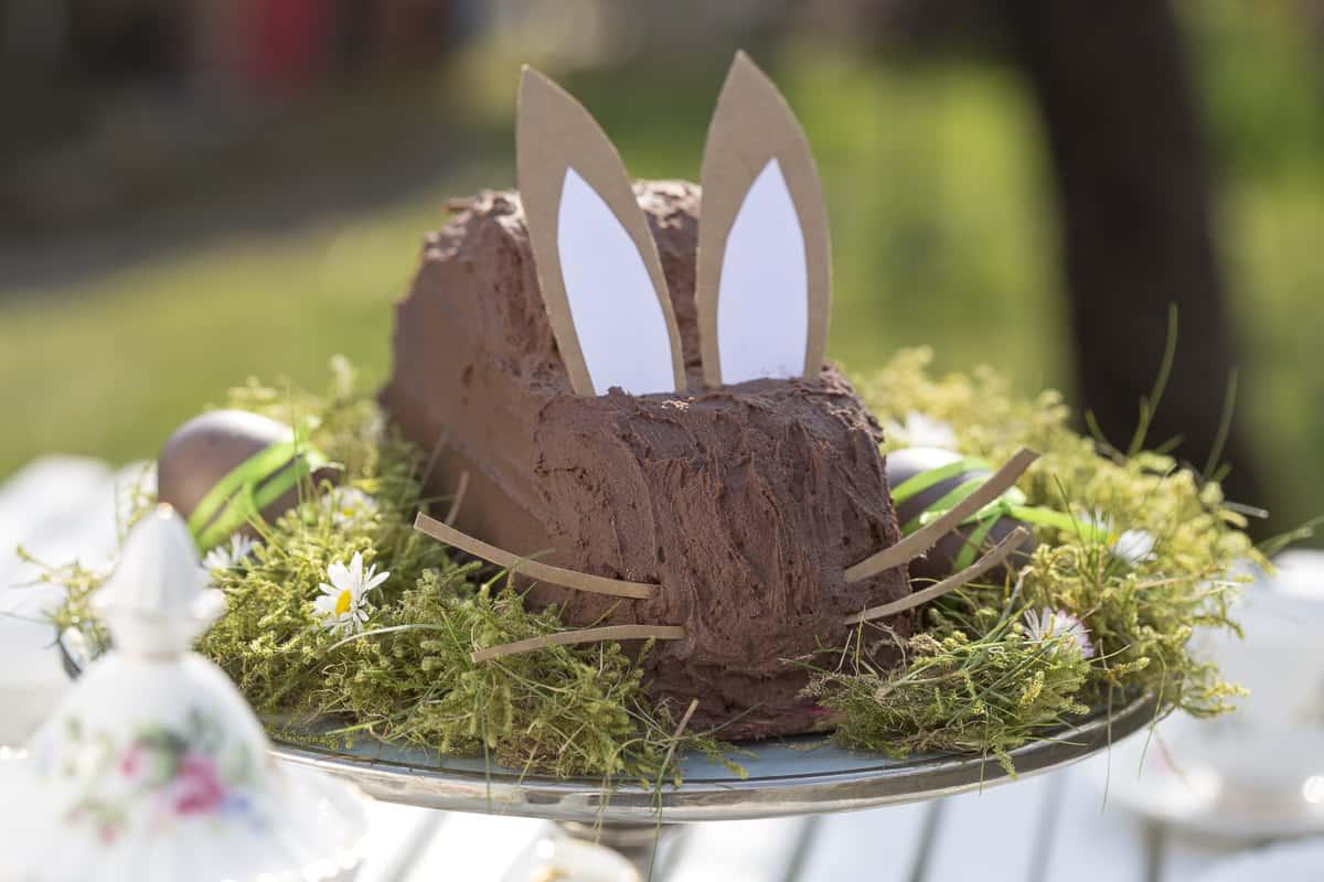 Rezept für einen Osterhasenkuchen, gefüllt mir fruchtiger Himbeere-Creme und umhüllt von zartbitterer Schokoladen-Creme. Mit Schritt für Schritt Anleitung.