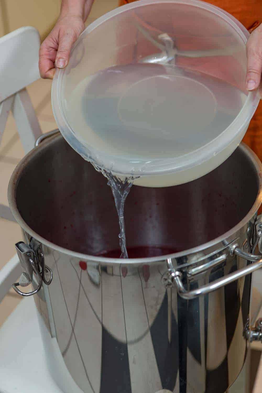 Johannisbeerwein selbst machen zucker und Hefe zugeben