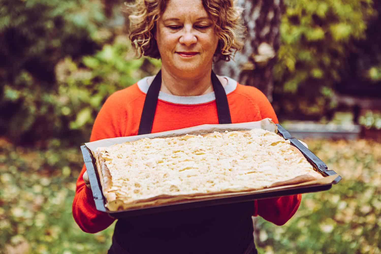 Apfelkuchen mit Streusel Hefeteig
