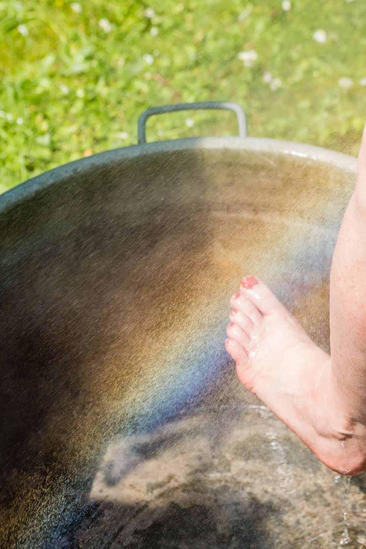 Nachhaltig duschen, Wasser auffangen